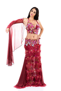 Candy Forest. Exclusive Bellydance Red Costume. Front
