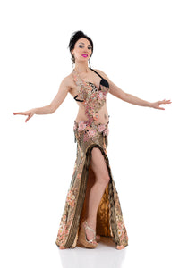 Golden Rose. Exclusive Bellydance Costume, Front