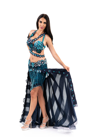 Sapphire Warrior. Exclusive Bellydance Costume. Lateral