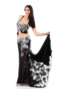 Black & White. Exclusive Bellydance Costume. Front