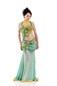 Sunflower Explosion. Exclusive Bellydance Costume, Front