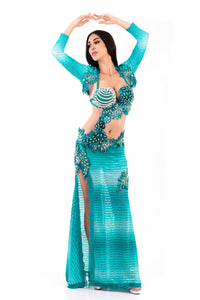 Turquoise Bolero. Exclusive Bellydance Costume. Front