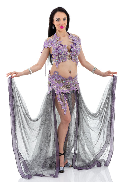 Wild Lavender. Exclusive Bellydance Costume. Front with open skirt