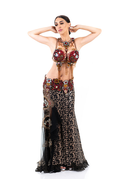 Wild Passion. Exclusive Bellydance Black/Gold Costume. Front