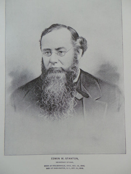 1895 EDWIN M. STANTON Secretary Of Civil War Union Lawyer Politician Portrait