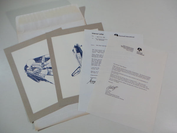 1981 Rockwell International NASA STS-1 COLUMBIA Employee Letters Gift Etchings