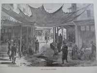 1860 AGORA OF ATHENS Greek Greece Large Wood Engraving Print