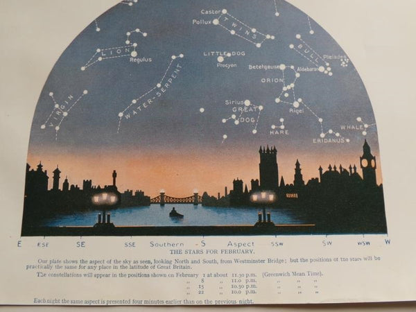 1923 FEBRUARY STARS Constellation Astronomy Cityscape Westminster Bridge London