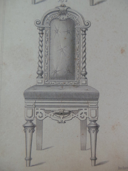 Rare 1853 Victorian LIBRARY CHAIRS Woodwork CABINET Maker's Large Engraving