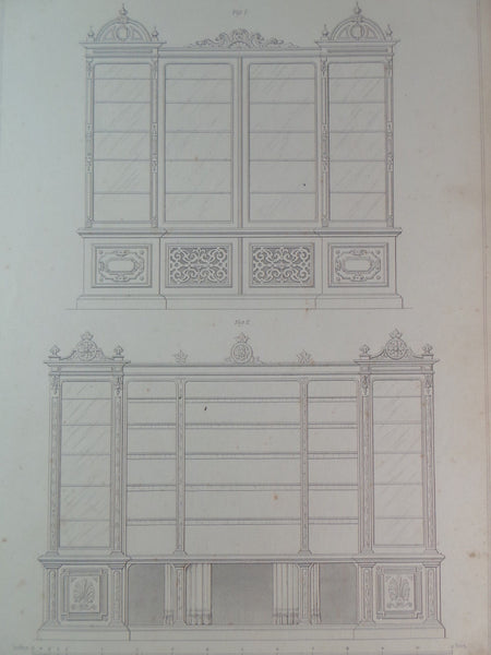 Rare 1853 Victorian BOOKCASES Woodwork CABINET Maker's Large Engraving