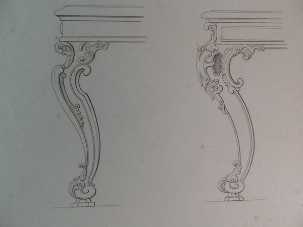Rare 1853 Victorian TABLE & CHAIR LEGS Woodwork CABINET Maker's Large Engraving