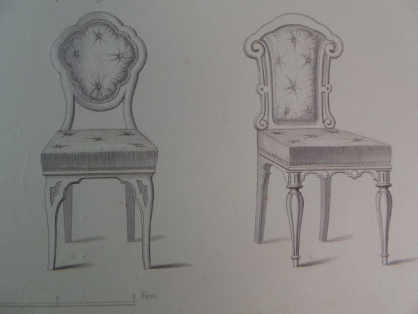 Rare 1853 Victorian DINING ROOM CHAIRS Woodwork CABINET Maker's Large Engraving