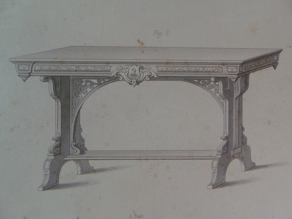 Rare 1853 Victorian SIDE TABLES Woodwork CABINET Maker's Large Old Engraving