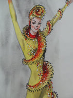 MARYLIN SOTTO Orig. SIGNED Watercolor Ice Skater Girl Ex-Disney Costume Designer