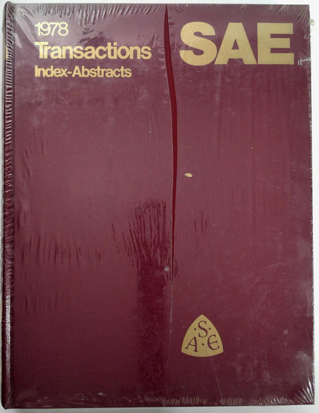1978 SAE Society Automotive Engineers Transactions Index Abstracts Volume 87