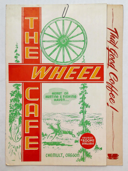 1950s Vintage Breakfast Menu The Wheel Cafe Chemult Oregon Now KJ's Cafe