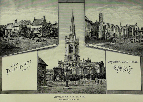 1888 Engraving CHURCH OF ALL SAINTS Stamford England Tolethorpe History