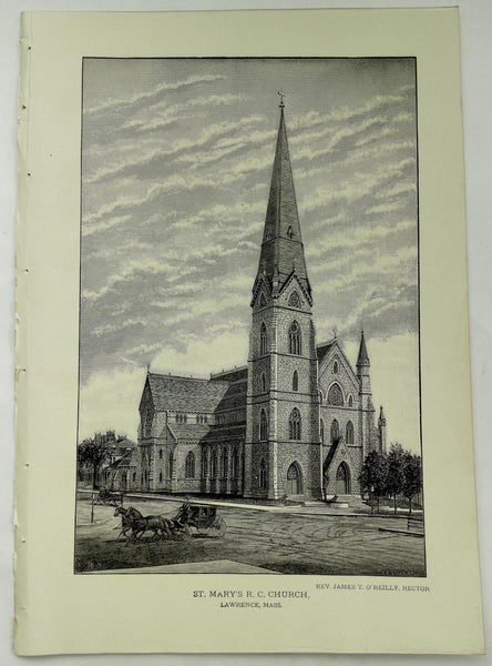 1888 Engraving ST. MARY'S R.C. CHURCH Lawrence Mass. Rev. James O'Reilly Rector