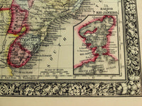 1860 Mitchell's Huge Hand Tinted Map BRAZIL Bolivia PARAGUAY Uruguay & CHILI