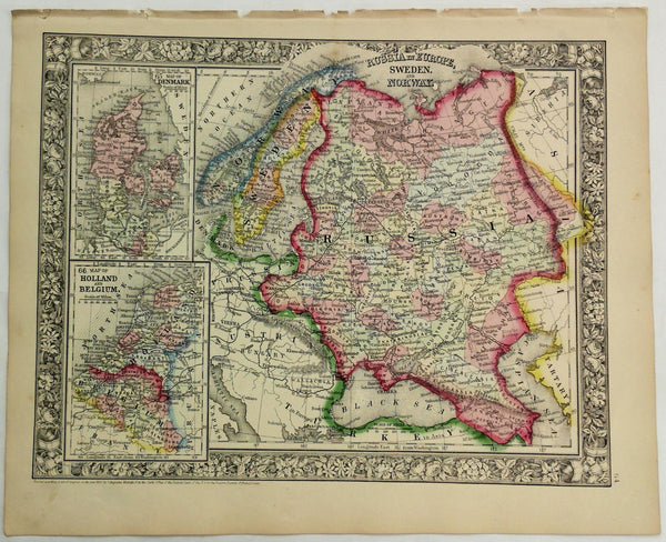 1860 Mitchell's Hand Tinted Map RUSSIA Sweden NORWAY Denmark Holland Belgium