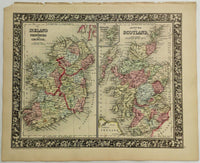 1860 Mitchell's Huge Hand Tinted Map SCOTLAND & IRELAND Counties Provinces