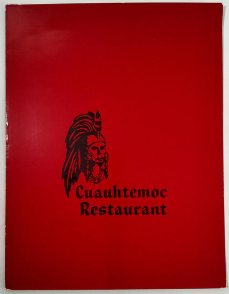 Vintage Original Menu CUAUHTEMOC RESTAURANT Mexican Food Escondido California