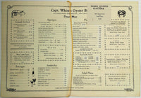 CAPTAIN WHITE'S OYSTER BAR Vintage Dinner Menu Silver Spring Md. Michelob Cover