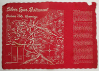Vintage Dinner Menu & Placemat SILVER SPUR Restaurant Jackson Hole Wyoming