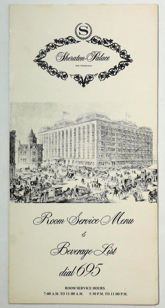 Original Vintage ROOM SERVICE & Drinks Menu SHERATON PALACE San Francisco CA
