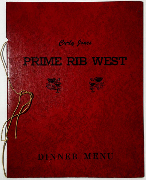 1976 Vintage Vinyl Dinner Menu CURLY JONES Prime Rib West Downey California