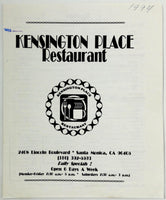 1994 Vintage Original Menu KENSINGTON PLACE RESTAURANT Santa Monica CA