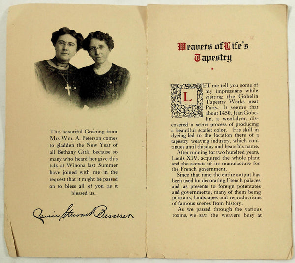 1912 1947 BETHANY GIRLS Christian Chicago IL COVENANT MEMBERSHIP Card New Years