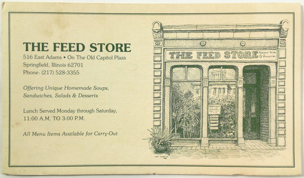Vintage Original Menu THE FEED STORE RESTAURANT Springfield IL Capitol Plaza