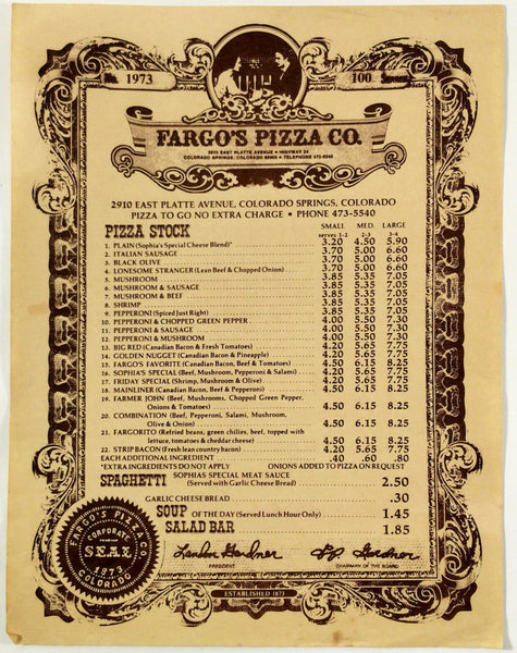 Vintage PIZZA STOCK Menu FARGO'S PIZZA COMPANY Colorado Springs Established 1873