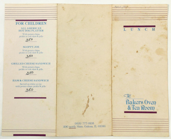 1992 Vintage Lunch Menu THE BAKER'S OVEN & TEA ROOM Restaurant Galena IL