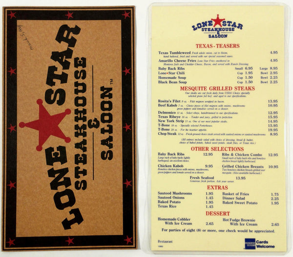 1994 Original Vintage Menu Lot LONE STAR STEAKHOUSE & SALOON