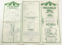 1985 Vintage Breakfast Lunch Wine Menu PICCADILLY DELI Hyannis Yarmouth Mass.