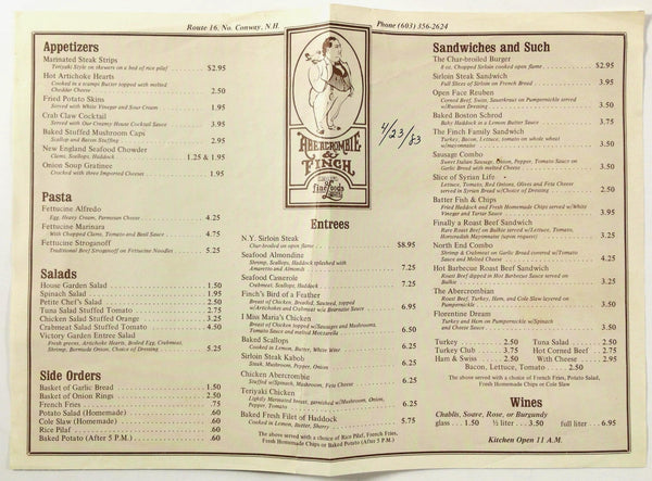 1983 Vintage Menu ABERCROMBIE & FINCH Restaurant Route 16 Conway New Hampshire