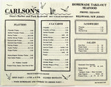 Original Vintage Menu CARLSON'SSEAFOOD RESTAURANT Fish Bait Ice Tide Wildwood NJ
