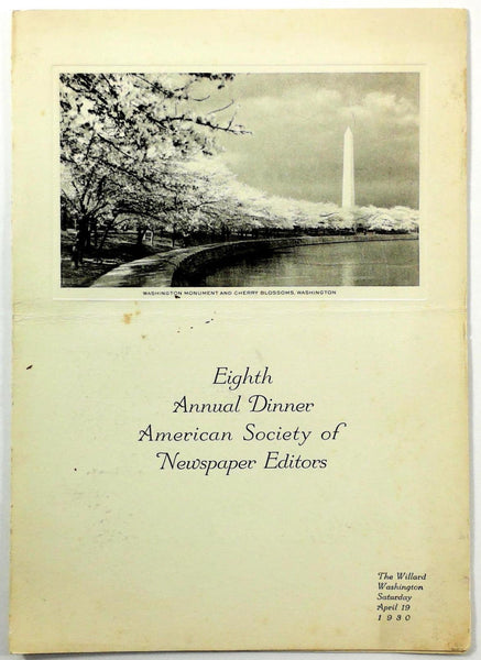 1930 Dinner Menu AMERICAN SOCIETY NEWSPAPER EDITORS Willard Hotel Washington DC