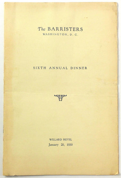 1930 Dinner Menu THE BARRISTERS Attorney Lawyer Willard Hotel Washington DC