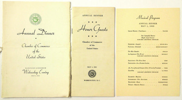 May 1 1935 Annual Dinner Menu U.S. CHAMBER OF COMMERCE Washington Auditorium DC