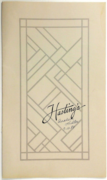 1984 Full Size Vintage Menu ANAHEIM HILTON - HASTING'S Restaurant Ca Chef Signed