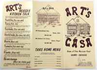 1986 Large Vintage Menu ART'S CASA Mexican Restaurant Nampa Idaho Ontario Oregon