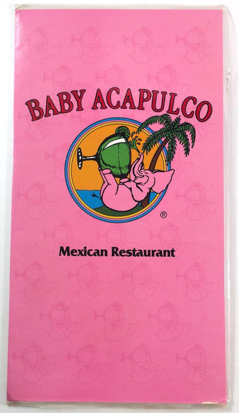 1980's Large Vintage Menu BABY ACAPULCO Mexican Restaurant Austin Texas
