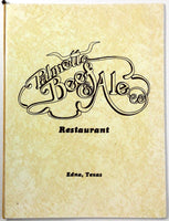 1984 Vintage Menu PALMETTO BEEF & ALE Restaurant Thomas Menefee Family Genealogy