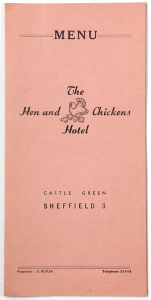 1960's Vintage Menu HEN & CHICKENS HOTEL Restaurant Sheffield United Kingdom