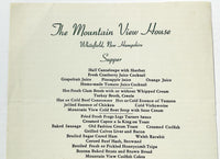 Haunted - 1953 Vintage Menu THE MOUNTAIN VIEW HOUSE Whitefield New Hampshire