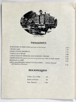 1970's Vintage Menu UNION AVENUE SOCIAL CLUB Grand Cafe Restaurant Portland OR