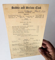 1948 Original Vintage Menu SADDLE & SIRLOIN CLUB Union Stock Yards Chicago IL